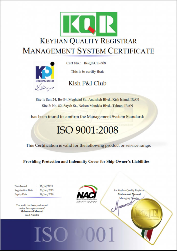 Certificates Kish P & I Club